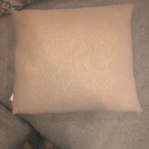Beige Throw Pillow with Gold Accents